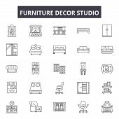 Furniture Decor Studio Line Icons, Signs Set, Vector. Furniture Decor Studio Outline Concept, Illust poster