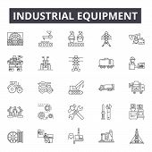 Industrial Equipment Line Icons, Signs Set, Vector. Industrial Equipment Outline Concept, Illustrati poster