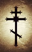 The Greek-catholic Orthodox Eight-pointed Cross. Christian Symbol Of The Faith, Redemption And Absol poster