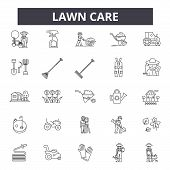 Lawn Care Line Icons, Signs Set, Vector. Lawn Care Outline Concept, Illustration: Care, Gardening, L poster