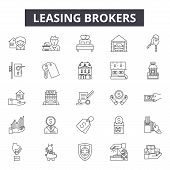 Leasing Brokers Line Icons, Signs Set, Vector. Leasing Brokers Outline Concept, Illustration: Proper poster