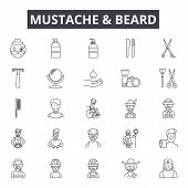 Mustache And Beard Line Icons, Signs Set, Vector. Mustache And Beard Outline Concept, Illustration:  poster