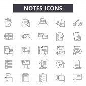 Notes Line Icons, Signs Set, Vector. Notes Outline Concept, Illustration: Note, Graphic, Isolated, O poster