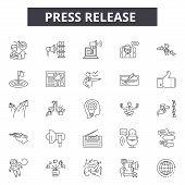 Press Release Line Icons, Signs Set, Vector. Press Release Outline Concept, Illustration: Press, Med poster
