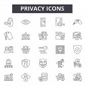 Privacy Line Icons, Signs Set, Vector. Privacy Outline Concept, Illustration: Secure, Security, Priv poster
