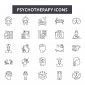 Psychotherapy Line Icons, Signs Set, Vector. Psychotherapy Outline Concept, Illustration: Psychother poster