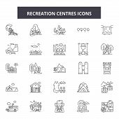 Recreation Centres Line Icons, Signs Set, Vector. Recreation Centres Outline Concept, Illustration:  poster