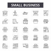 Small Business Line Icons, Signs Set, Vector. Small Business Outline Concept, Illustration: Business poster