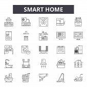 Smart Home Line Icons, Signs Set, Vector. Smart Home Outline Concept, Illustration: Home, Technology poster