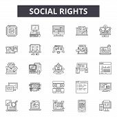 Social Rights Line Icons, Signs Set, Vector. Social Rights Outline Concept, Illustration: Human, Soc poster