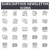 Subscription Newsletter Line Icons, Signs Set, Vector. Subscription Newsletter Outline Concept, Illu poster