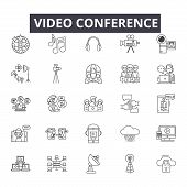 Video Conference Line Icons, Signs Set, Vector. Video Conference Outline Concept, Illustration: Vide poster