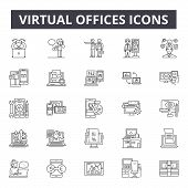Virtual Offices Line Icons, Signs Set, Vector. Virtual Offices Outline Concept, Illustration: Office poster