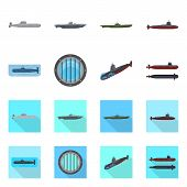 Vector Design Of War  And Ship Icon. Collection Of War  And Fleet Vector Icon For Stock. poster