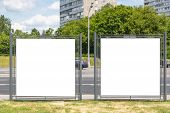 Modern Empty Blank Advertising Billboards Banners In A City Outdoors. Mockup For Your Advertising Pr poster