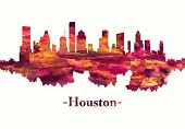 Red Skyline Of Houston, A Large Metropolis In Texas, Extending To Galveston Bay poster