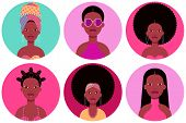 Set Of Six Young Black Women Round Flat Icons In Different Clothes And Hairstyles. Six Circle Vector poster
