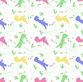 Roar And Chomp. Dino Pattern. Creative Seamless Tile With Dinosaurs And Letter In Scandinavian Style poster