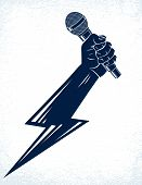 Microphone In Hand In A Shape Of Lightning, Rap Battle Rhymes Music, Karaoke Singing Or Standup Come poster