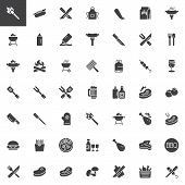 Bbq Party Time Vector Icons Set, Modern Solid Symbol Collection, Filled Style Pictogram Pack. Signs, poster