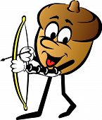 Cartoon Of Animated Acorn With Bow And Arrow poster