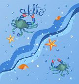Hello Sea. Blue Crab, Sea And Stars. Sea Poster. Sea Background, Sea Wave With Water Drops. poster