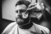 Client During Beard Shaving In Barbershop. Female Barber At Salon. Gender Equality. Woman In The Mal poster