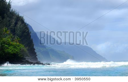 Shoreline Of The Napali Coast On Kauai Hawaii