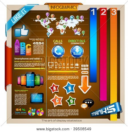 Infographic with a lot of design elements - set of paper tags, technology icons, cloud cmputing, graphs, paper tags, arrows, world map and so on. Ideal for statistic data display.