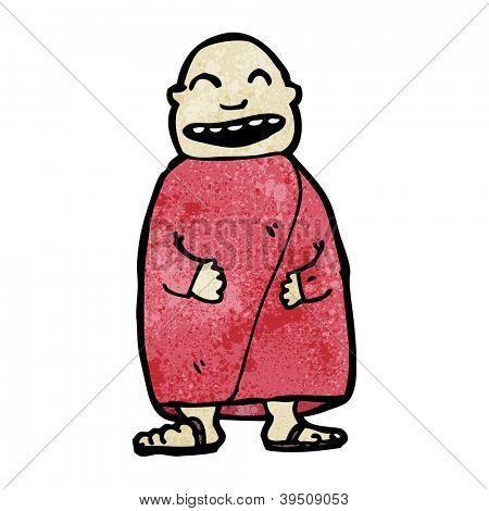 cartoon laughing monk