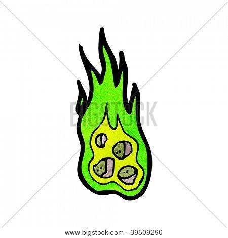 cartoon flaming meteor