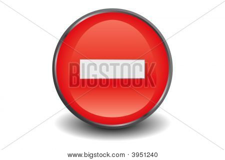 No Entry Button Red P