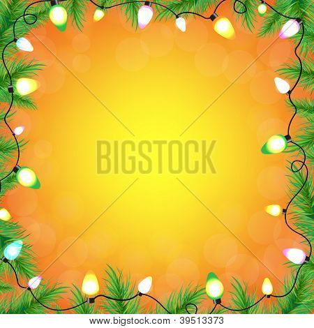 Color Bulb Garland With Fir-Tree With Gradient Mesh, Vector Illustration