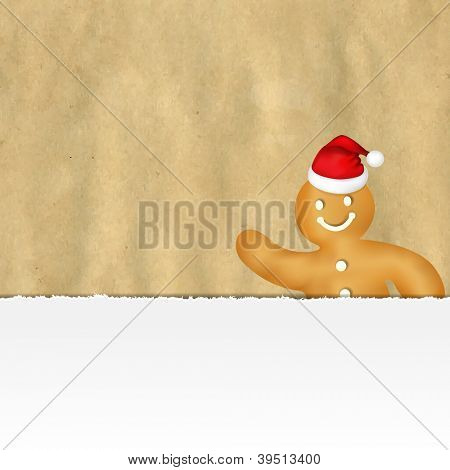 Old Ripped Paper With Gingerbread Man With Gradient Mesh, Vector Illustration