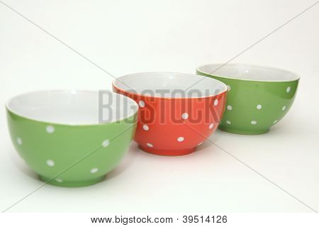 Three bowls with polka dots