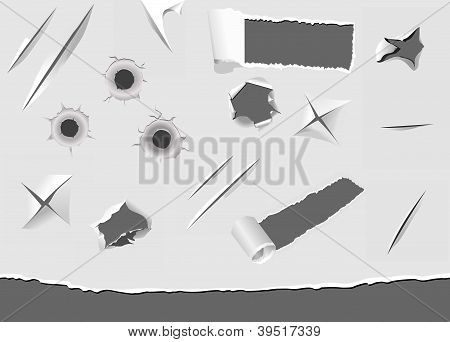 Set Of Torned And Damaged Paper Elements