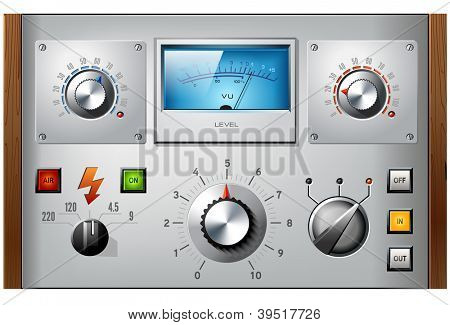 Analog controls interface elements set, vector, including VU meter, push buttons and switches.