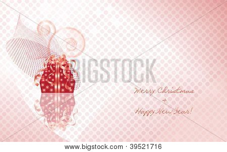 Christmas giftboxes on the pink dotted background