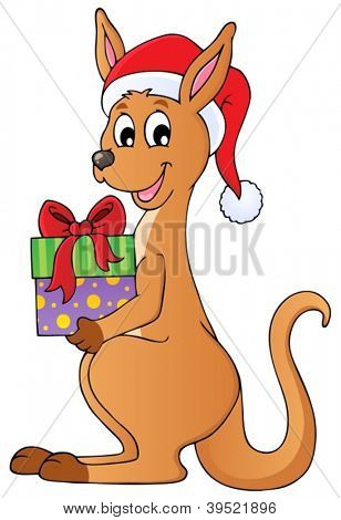 Christmas kangaroo theme image 1 - vector illustration.