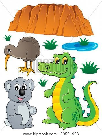Australian wildlife fauna set 3 - vector illustration.