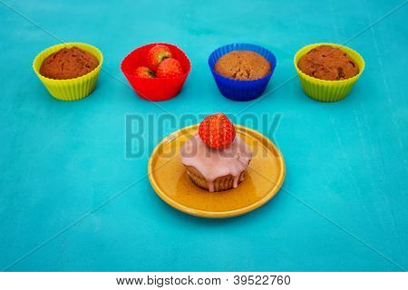 Cupcake mit Erdbeere