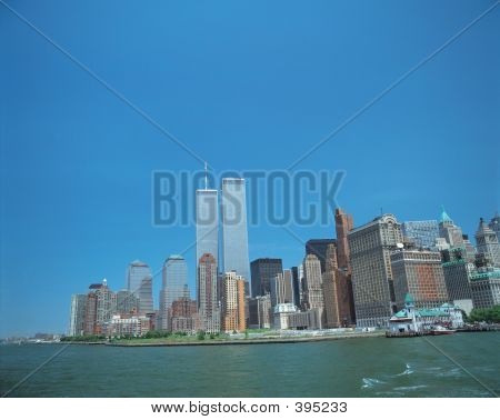 Manhattan Island With Twin Towers