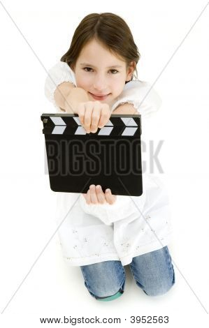 Youn Girl Holding A Movie Clapper