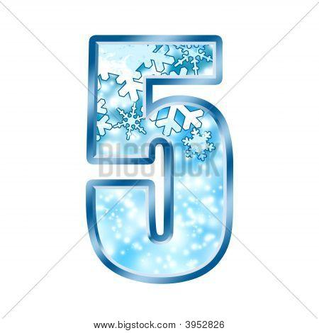 Winter Alphabet Number 5 Five