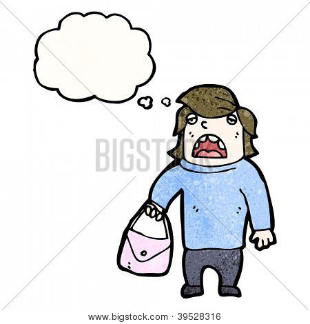 cartoon man holding handbag
