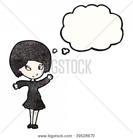 cartoon goth girl with thought bubble