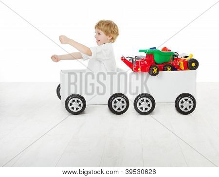 Child Driving Box Car And Wagon With Toys.