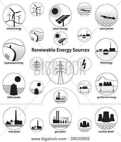 Renewable Energy Sources - Icon Set