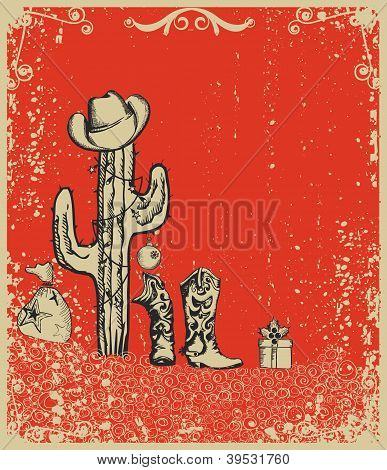 Christmas Card With Cowboy Boots And Cactus On Old Grunge Paper