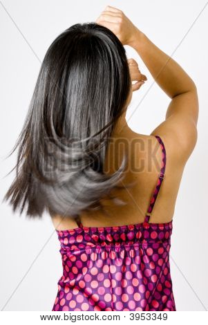 Straight Shiny Black Hair In Motion